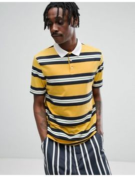 Asos Relaxed Rugby Polo Shirt In Yellow Retro Stripe by Asos