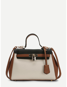 Piping Detail Color Block Pu Shoulder Bag by Sheinside