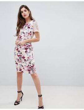 French Connection Floral And Lace Bodycon Dress by French Connection
