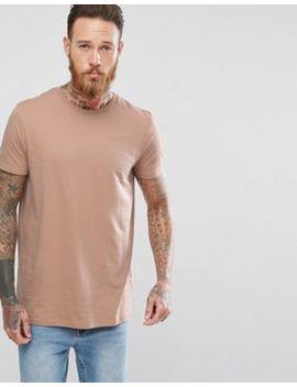 Asos – Langes T Shirt In Beige Mit Rundhalsausschnitt by Asos