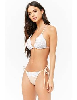 Lace Trim String Bikini Bottoms by Forever 21