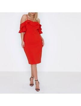 Plus Red Frill Cold Shoulder Bodycon Dress                                  Plus Red Frill Cold Shoulder Bodycon Dress by River Island