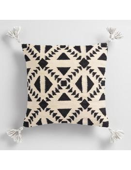 Black And Ivory Geo Woven Indoor Outdoor Throw Pillow by World Market