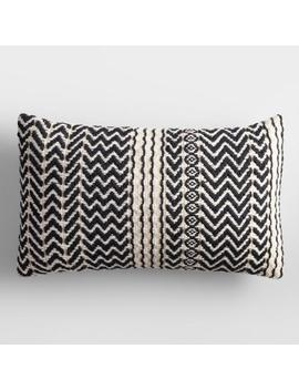 Black And Ivory Zigzag Woven Indoor Outdoor Lumbar Pillow by World Market
