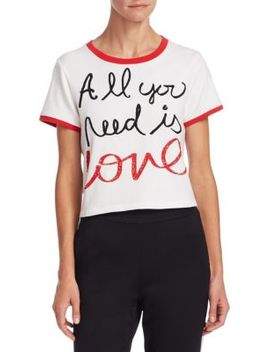Alice + Olivia X Beatles Cindy Embroidered Crop Ringer Tee by Alice + Olivia