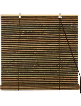 Burnt Bamboo Roll Up Blinds, Multi Color Weave by Oriental Furniture