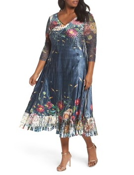 Floral V Neck Charmeuse Midi Dress by Komarov