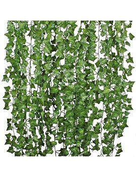 84 Ft 12 Pack Artificial Ivy Leaf Garland Plants Vine Hanging Wedding Garland Fake Foliage Flowers Home Kitchen Garden Office Wedding Wall Decor by Dear House