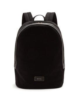 Logo Print Leather Trimmed Canvas Backpack by Paul Smith