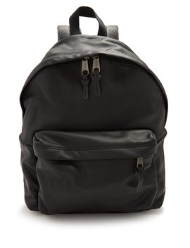 Padded Pak'r Leather Backpack by Eastpak