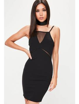 Black Strappy Mesh Insert Bodycon Dress by Missguided