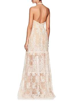 Floral Lace Stretch Silk Gown by Sophia Kah
