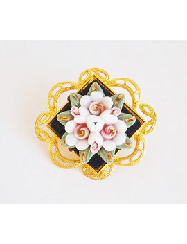 Gold Brooch With Porcelain Flowers, Porcelain Flowers, Vintage Brooch, Woman Gift, Collection Brooch, Gold Jewelry, by Etsy