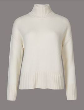 Pure Cashmere Funnel Neck Jumper by Marks & Spencer
