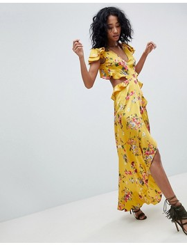 Asos Design Ruffle Maxi Dress With Cut Out Back In Yellow Floral Print by Asos Design