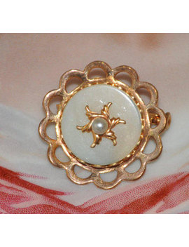 Vintage French Brooch, Faux Pearl, Ladies Pin, Gold Tone Jewelry, Gold Brooch, Antique Jewelry, Metal Frame, Round Brooch, Made In France by Etsy