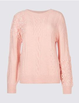 Lace Round Neck Jumper by Marks & Spencer