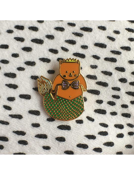 Purr Maid Polished Gold Pin Badge by Etsy