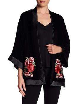 Velvet Embroidered Floral Applique Jacket by Max Studio
