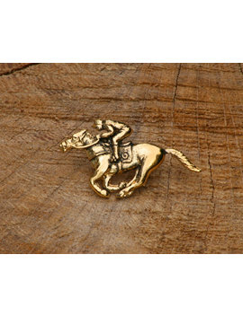 Horse Racing Gold Plated Pin Lapel Badge Riding Gift by Etsy