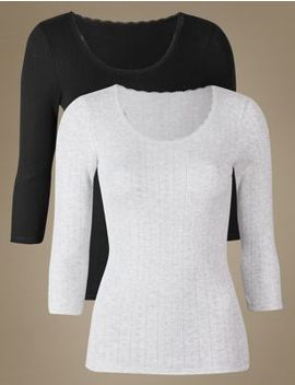 2 Pack Thermal Scoop Neck Tops by Marks & Spencer