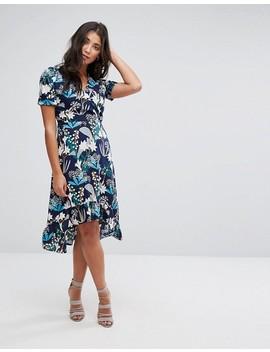 Yumi Dip Hem Midi Dress In Starburst Floral Print by Dress