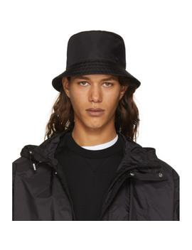 Black Nylon Bucket Hat by Prada