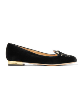 Kitty Bestickte Slippers Aus Samt by Charlotte Olympia