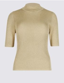 Textured Funnel Neck Short Sleeve Jumper by Marks & Spencer