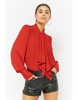 Woven Pussycat Bow Top by Forever 21