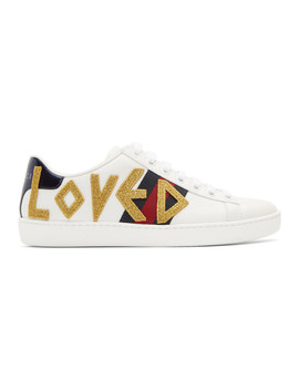 White Embroidered 'loved' New Ace Sneakers by Gucci