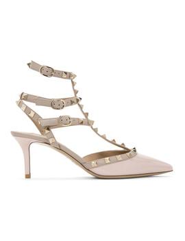 Pink Valentino Garavani Patent Rockstud Cage Heels by Valentino