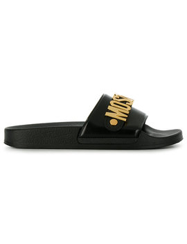 Logo Plaque Pool Sliders by Moschino