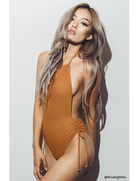 Halter Neck One Piece Swimsuit by F21 Contemporary