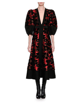 Lily Pad Jacquard & Velvet Midi Dress, Red/Black by Alexander Mc Queen