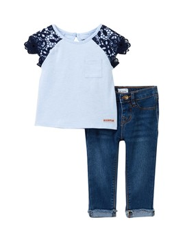 Heathered Jersey Lace Overlay Top & Pants Set (Baby Girls) by Hudson Jeans