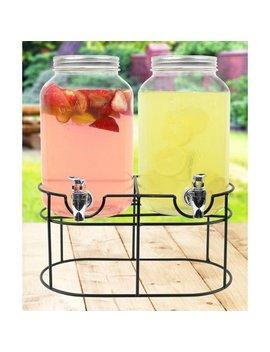 Estilo Glass Mason Jar Double Beverage Drink Dispenser On Metal Stand With Leak Free Spigot, 1 Gallon Each by Estilo