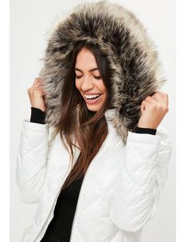 White Diamond Quilted Puffer Jacket by Missguided
