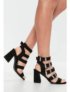 Black Western Buckle Block Heel Sandals by Missguided