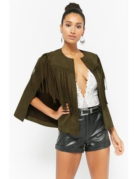 Faux Suede Fringe Cape Jacket by Forever 21