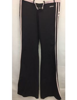 Bebe Sport Bbsp Yoga Pants Womens Sz S Brown Pink Stripe Belt With Buckle Euc by Bebe