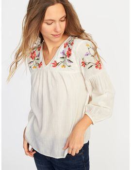 Relaxed Floral Embroidered Blouse For Women by Old Navy