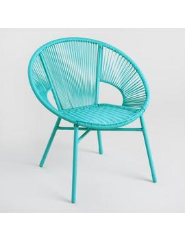 Round Maui Blue All Weather Wicker Camden Outdoor Chair by World Market