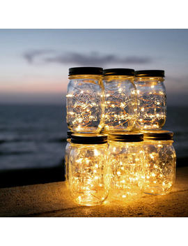 Solar Powered Mason Jar Lights (Mason Jar & Handle Included),10 Bulbs Warn White Jar Hanging Light,Garden Outdoor Solar Lanterns by Magicnight Official Store