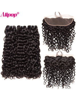 Brazilian Water Wave Ear To Ear Lace Frontal Closure With Bundles Human Hair 3 Bundles With Frontal Closure Alipop Non Remy 4 Pcs by Alipop Official Store