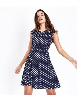 Mela Navy Polka Dot Dress by New Look