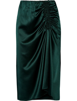 Ruched Silk Blend Satin Midi Skirt by Theory