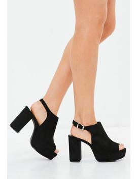 Black Peeptoe Faux Suede Blocked Heel Sandals by Missguided