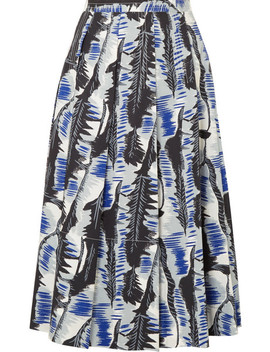 Pleated Printed Cotton Poplin Midi Skirt by Marni
