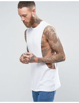 Asos Longline Sleeveless T Shirt With Extreme Dropped Armhole by Asos